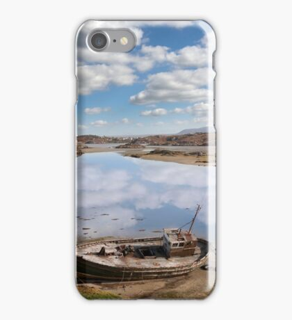old beached fishing boat on Donegal beach iPhone Case/Skin