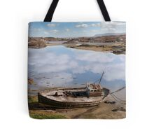 old beached fishing boat on Donegal beach Tote Bag
