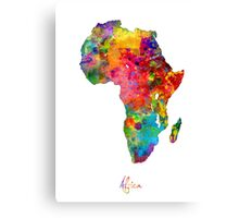 Africa Watercolor Map Canvas Print