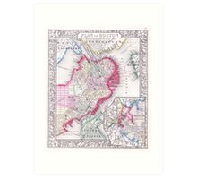Vintage Map of Downtown Boston (1864) Art Print