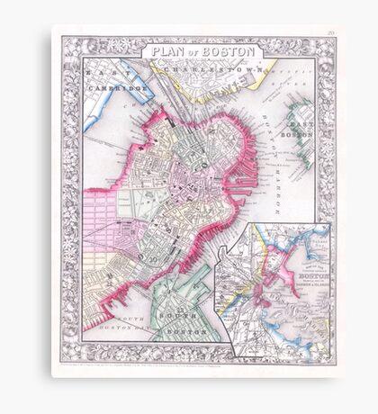 Vintage Map of Downtown Boston (1864) Metal Print