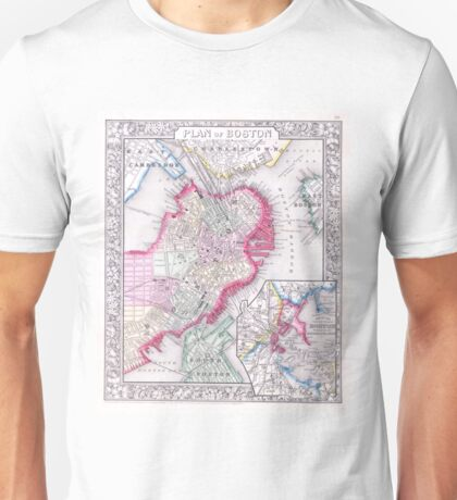 Vintage Map of Downtown Boston (1864) Unisex T-Shirt