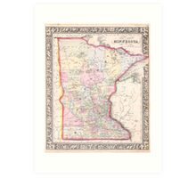 Vintage Map of Minnesota (1864) Art Print