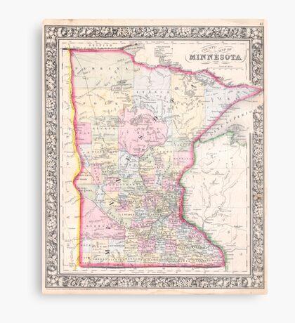 Vintage Map of Minnesota (1864) Metal Print