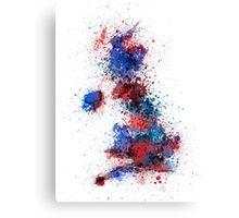 Great Britain UK Map Paint Splashes Canvas Print