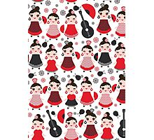 Flamenco boys and girls with guitar, castanets and fans Photographic Print