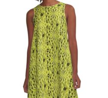 Yellow fractals pattern, tiled A-Line Dress
