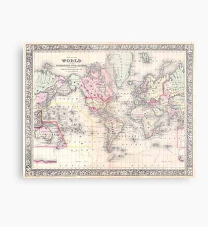 Vintage Map of The World (1864) Metal Print