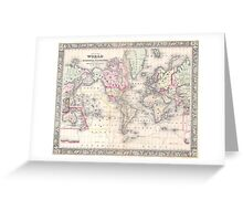 Vintage Map of The World (1864) Greeting Card