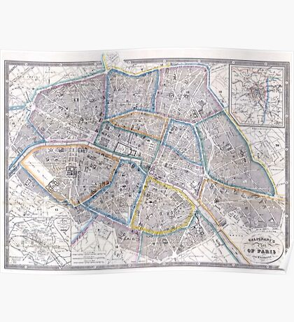 Vintage Map of Paris (1865) Poster