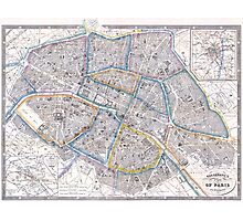 Vintage Map of Paris (1865) Photographic Print