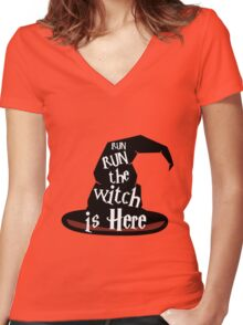 Run The Witch Is Here Halloween Party Outfit Costume Women's Fitted V-Neck T-Shirt