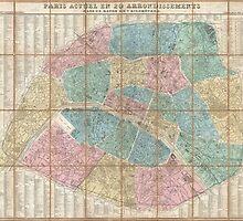 Vintage Map of Paris France (1867) by BravuraMedia