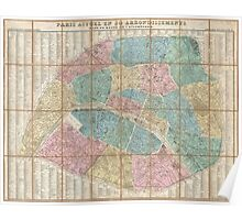 Vintage Map of Paris France (1867) Poster