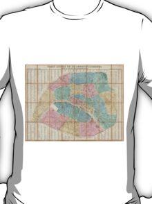 Vintage Map of Paris France (1867) T-Shirt