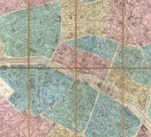 Vintage Map of Paris France (1867) Sticker