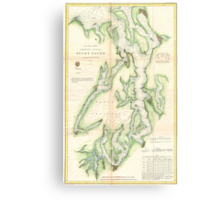 Vintage Map of The Puget Sound (1867) Canvas Print
