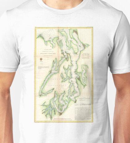 Vintage Map of The Puget Sound (1867) Unisex T-Shirt