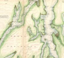 Vintage Map of The Puget Sound (1867) Sticker