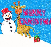Merry Christmas from Mr Snowman and His Giraffe Pal by Dennis Melling