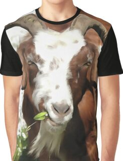 Whimsical Portrait Horned Goat  Grazing Graphic T-Shirt