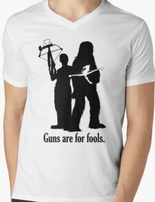 Guns are for fools. Mens V-Neck T-Shirt