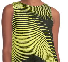 Yellow waves, line art, curves, abstract pattern 2 Contrast Tank