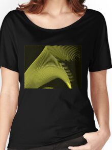 Yellow waves, line art, curves, abstract pattern 2 Women's Relaxed Fit T-Shirt