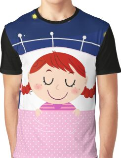 leeping sweet girl. Vector cartoon Illustration Graphic T-Shirt