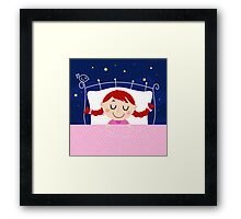 leeping sweet girl. Vector cartoon Illustration Framed Print
