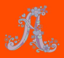 A letter monogram decorative typographic drawing Kids Tee