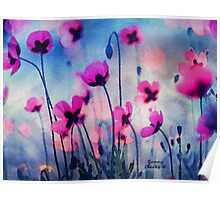 Misty Poppies Poster