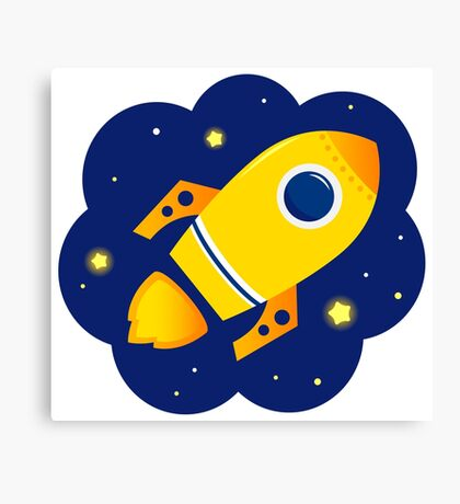 Yellow vector Rocket in space. Cartoon Illustration Canvas Print