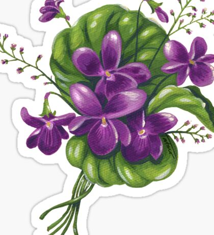 Violets - acrylic painting Sticker
