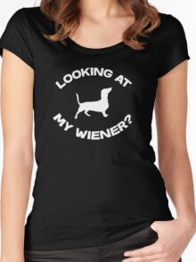 Are you looking at my wiener? Women's Fitted Scoop T-Shirt