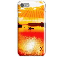 red hot silhouette of boat and birds at sunset iPhone Case/Skin