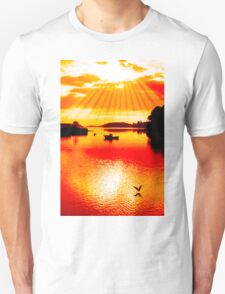 red hot silhouette of boat and birds at sunset T-Shirt