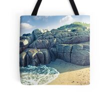 rock formation on a coastal beach in county Donegal Tote Bag