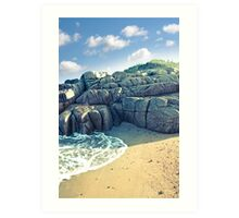 rock formation on a coastal beach in county Donegal Art Print