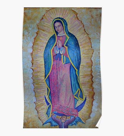 Our Lady of Guadalupe painting, Vergin de Guadalupe picture Virgin Mary print Black Madonna Mexico Poster