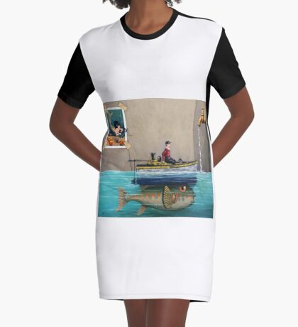 """""""Anyfin Is Possible"""" - Fisherman toy boat and Mermaid still life painting Graphic T-Shirt Dress"""