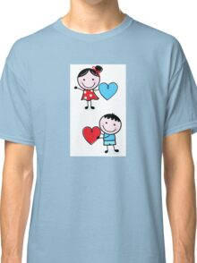 Illustration of happy Kids with Hearts / original blue and red edition Classic T-Shirt