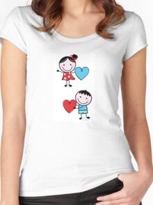 Illustration of happy Kids with Hearts / original blue and red edition Women's Fitted Scoop T-Shirt