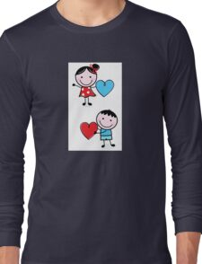 Illustration of happy Kids with Hearts / original blue and red edition Long Sleeve T-Shirt