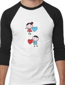 Illustration of happy Kids with Hearts / original blue and red edition Men's Baseball ¾ T-Shirt