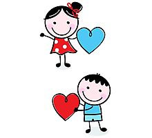Illustration of happy Kids with Hearts / original blue and red edition Photographic Print