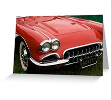 the hood of a classic sports car Greeting Card