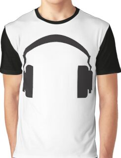 Black Headphones Design Graphic T-Shirt