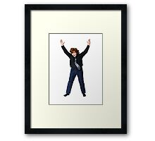 Expressive red-haired freckled boy shooting in the fly while jumping isolated on white background Framed Print