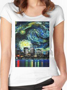 tardis starry night fun  Women's Fitted Scoop T-Shirt